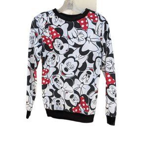 Disney All Over Minnie Mouse Face Print Sweatshirt
